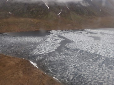Gaedeke Lake, our drop-off location, completely iced over and unfit for landing.