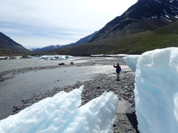Giant sheets of ice still lined the banks of the river, due to a late Summer